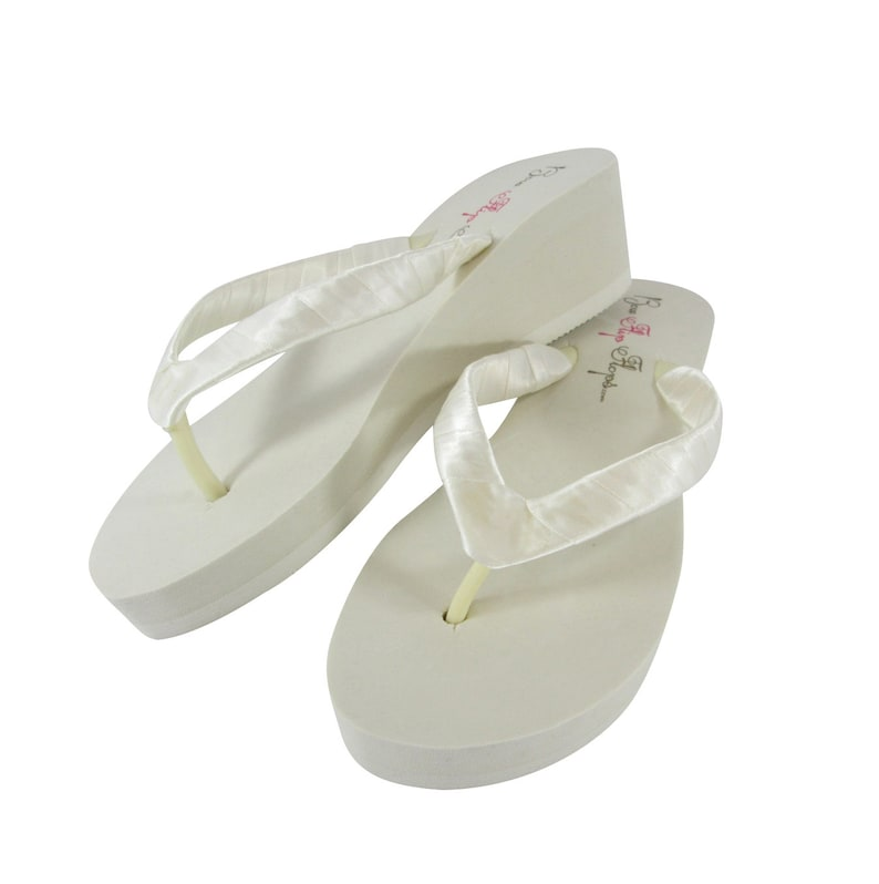 88cec498a4b4a Wedge flip flops Classic Ivory Wedge or White Wedge Bride