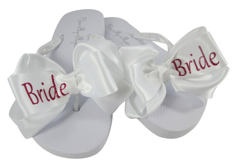 3f36f0bd5986aa Custom Wedding Flip flops for the Bride with Glitter Bling
