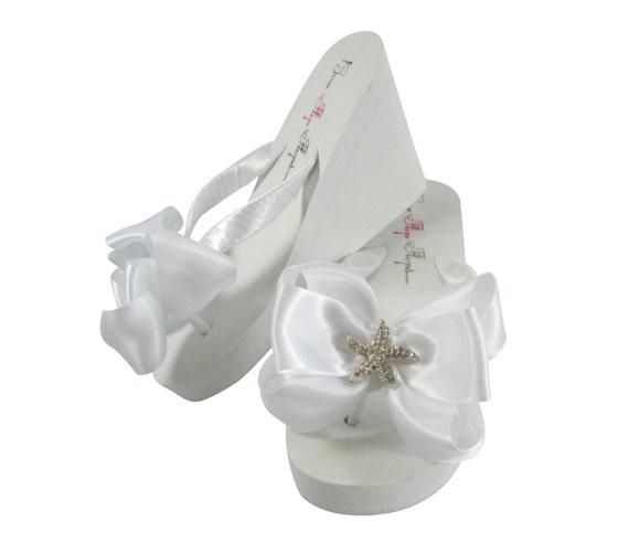 837dbde593953b Bride Bridal Wedding Flip Flops Starfish Beach Wedding Flip