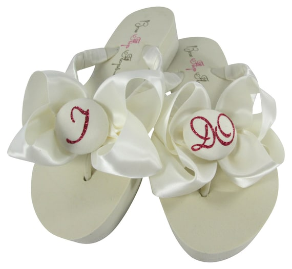the the at or height flops Bow Ivory flip Wedding White flip Glitter colors heel wedding for Black Satin I Do flops on or choose bride q0Sz7PS4