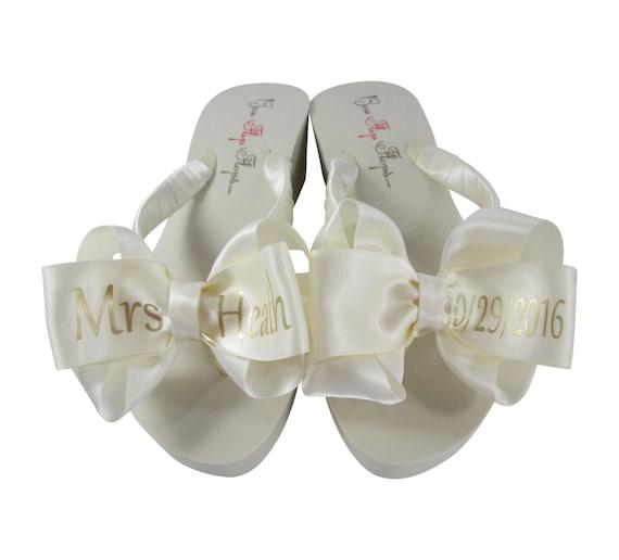 7782f229975dc Bridal FliP Flops  Mrs Wedding Date   Last Name customize