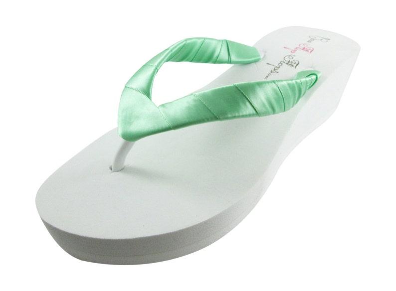 307dffffd Wedge Flip Flops Mint Green Wedding Ivory Flip Flops White