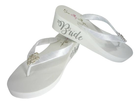 2 and Bride White the Flops bling in Straps the Lace Bridal inch Wedge with on Flip Silver in Side Embellishment Vintage Center Satin rfrzq