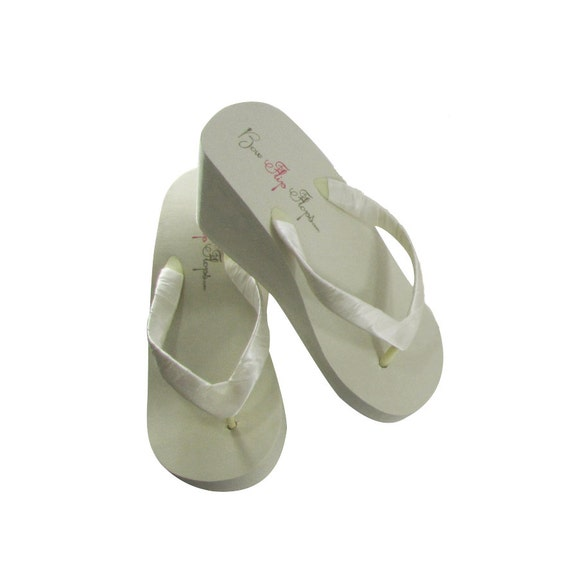 ea507c683cdf2 Bridal Flip Flops RUSH 2 DAY Ivory Wedge White-Wedge Flip