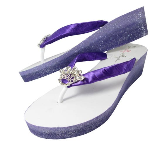 Princess Flip Orchid Flops Wedge Bridal Crown Flip with Bridal Ombre Purple Flops Rhinestone Glitter and CO1qdwq