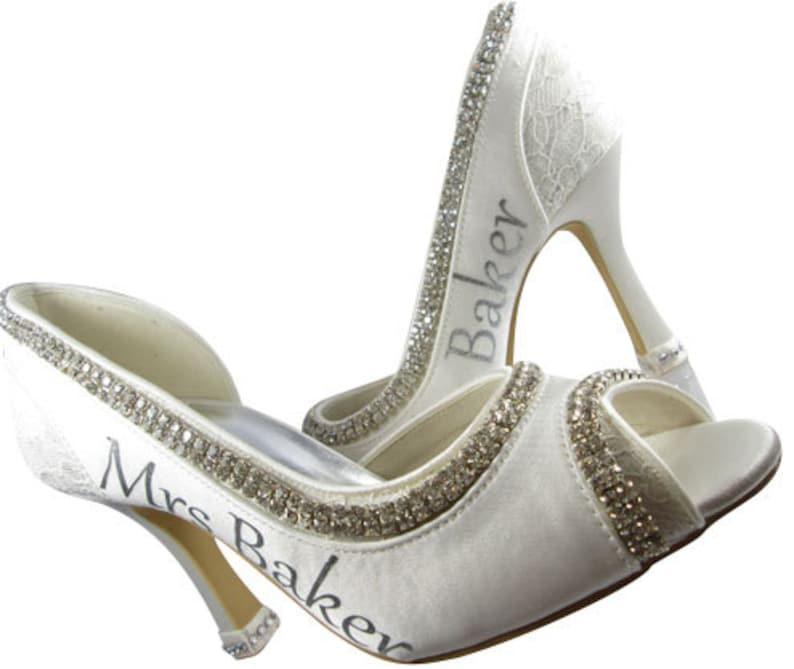 1fb19a8932fdd Peep toe silver bling ivory heels/Wedding Bridal High Shoes Mrs New Last  name Personalized Peep Satin Rhinestone Bling Pumps Bride Stiletto