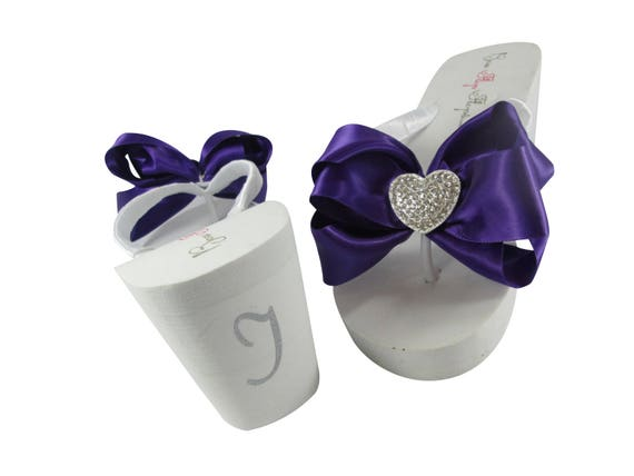 back Bridal Sandals wedge Heel DO Heart silver Flops Satin of I on Flip Flip white the Flop ivory with or the Bow Purple in RxvgAwOg