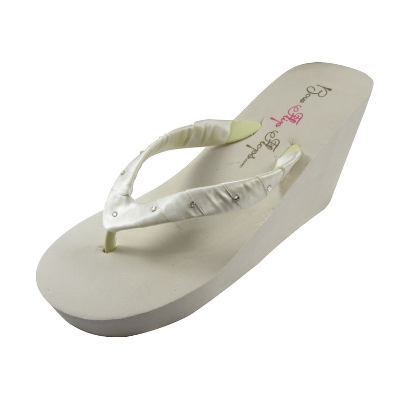618357276ffd8 Crystal Swarovski Rhinestone Accented Flip Flops with Satin Straps in White  or Ivory, Choose Ribbon Color, Weddings and Formals