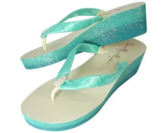 Turquoise & Tropic Ombre Bridal Glitter Wedge Heels, Flips Flops with Emerald Cut Embellishment and Gift Box Blue, Rhinestone Bride