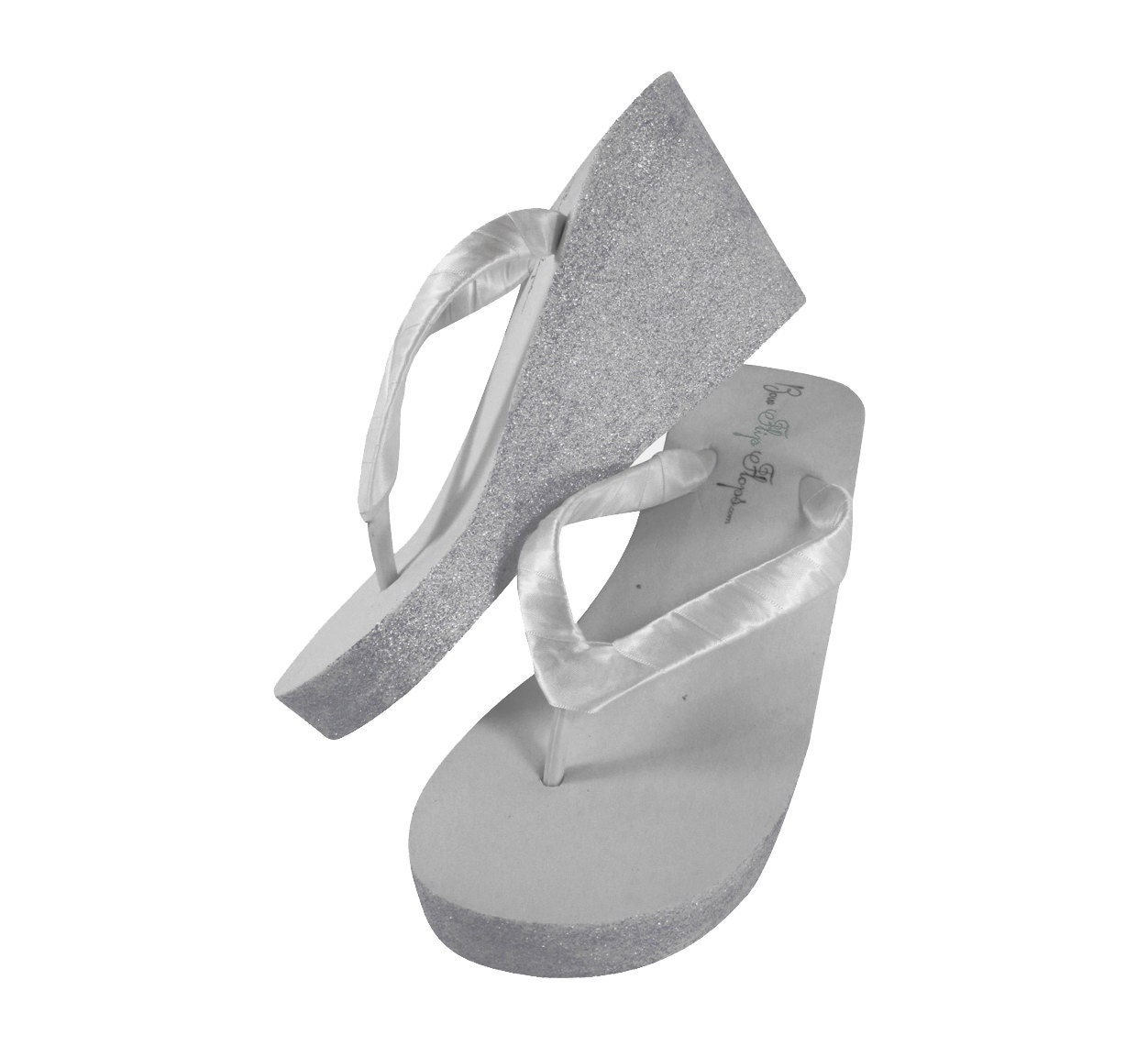 Silver Bridal Wedge Flip Flops White Or Ivory Glitter Color-1272