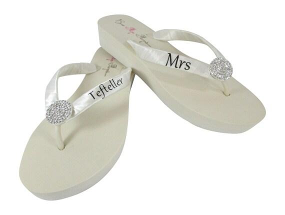 Bridal Platform name Flops Flops last wedges Wedding Flip Ivory lettering Round with Ivory Flip Jewel black on personalized rrZgqWwTP