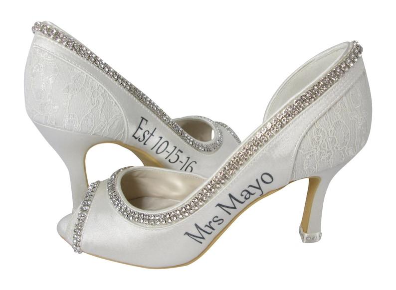 1822f54c2af Personalized Bride Wedding Heels with Date  bling rhinestone