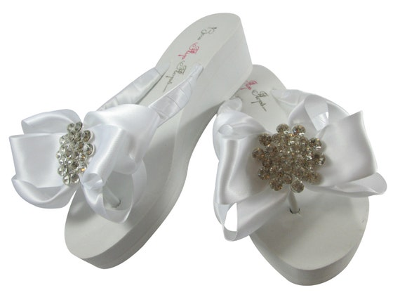 Ivory Wedge or Bling Jewel Flops bridesmaids Flip Wedding Flops with Flat the Bow platform Rhinestone Bride Heel Bridal White for Flip 1rvqX1