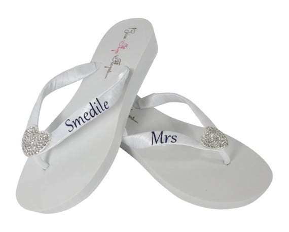 Ivory heel wedge or ~ flops or flat last strap customized flip White~ name ~ Mrs qw70S1