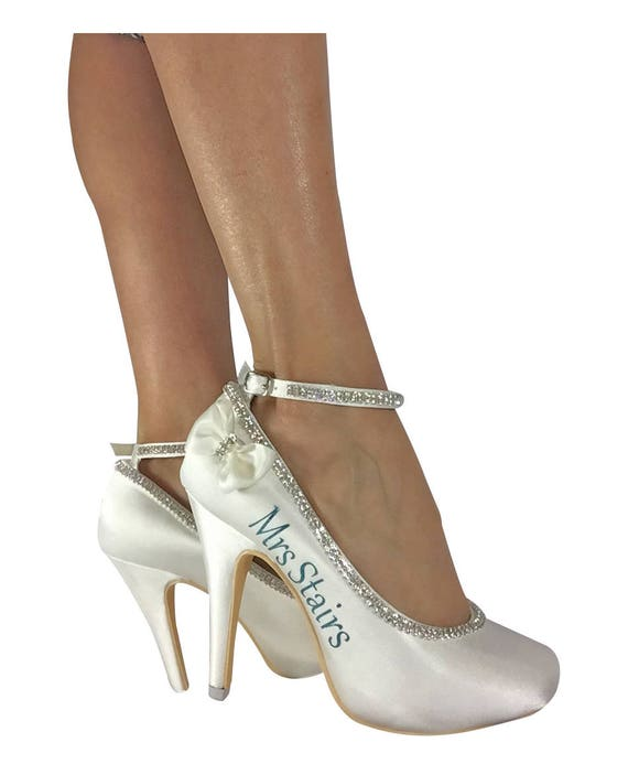 with in Bow Gray Rhinestone Heels Name Ankle Pumps Last High or Ivory Satin and pick Strap Wedding Shoes Green you Bride New colors Mint 8FFxqYE