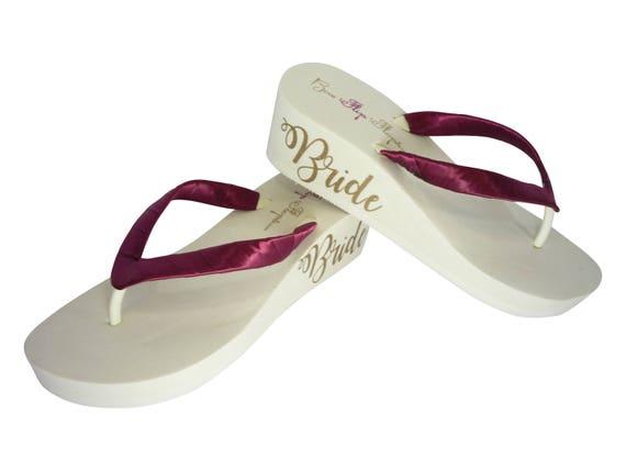 3 2 Flip Wine Champagne 5 inch Wedge Heel Ivory in or 1 Bride Heel Flops amp; 25 qOHYwwP