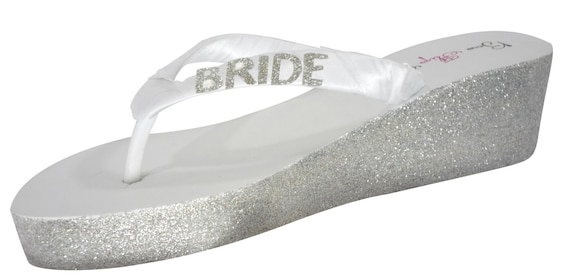 Wedge Wedding Gold Glitter Bride 2 flip Bling in your inch Flops white Flip Design Ivory Silver heels Bridal flops Champagne or 15wxn0wP