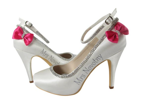 Bling with wedding Strap Ankle Last bow Ivory date Custom pick Bridal High lettering Bridal amp; colors You with Shoes name Heels fxZ4HRwqA