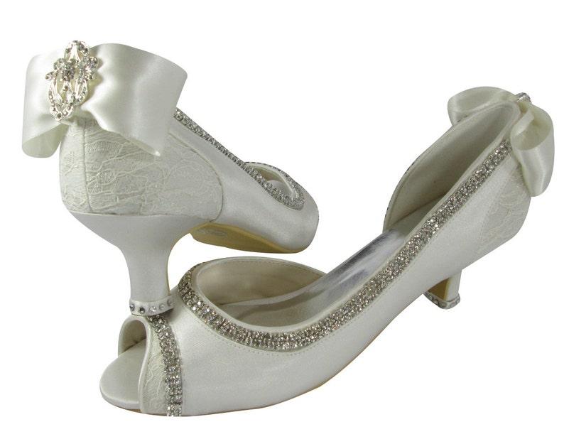 7a398e470c220 Ivory Wedding Heels Bridal Shoes 2 inch -3.5 - 4.5 Peep Toe Satin Vintage  Lace Bow -I DO Rhinestone Bling -Pumps -Bride Shoes Gift