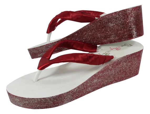 Gold Silver amp; Blue Painted Pink Wedge Bridesmaid Bridal Purple Flip your Design Green Red Flops Own THwnqxPv4