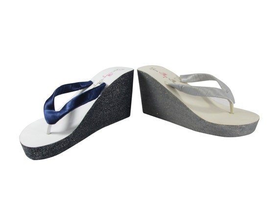 Bride Wedding Pewter Navy of Flop Wedge many for Mother choose Flip Sandals Created from Bridesmaids Colors the custom the Your or Groom zadwq4Uva
