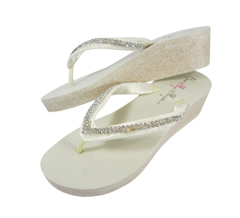 9a86b3148253 Champagne and Ivory with Diamond Satin Strap Wedge Flip Flops