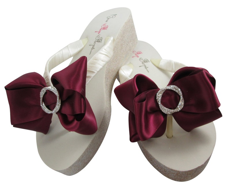 3ce6237a8 Bridal Flip Flops Ivory Wedge Wedding Flip Flops White Bow
