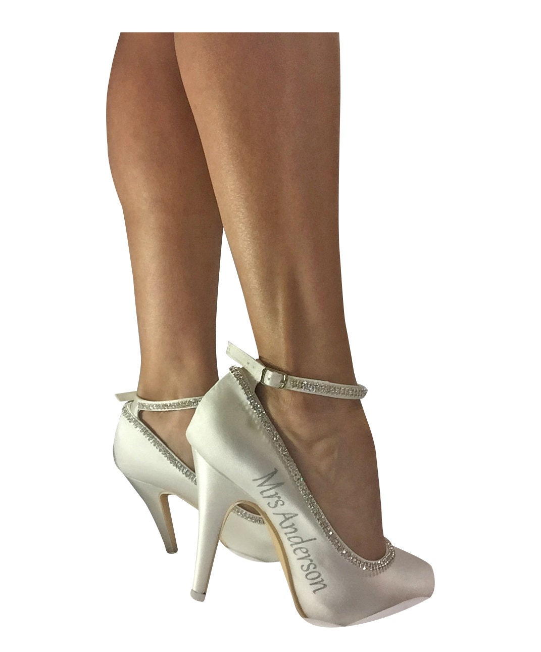Rhinestone, Ivory Bridal and Silver Diamonte Strap Bridal Ivory High Heels, Mrs new last name and wedding date ab114a