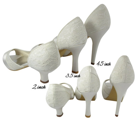 with Lace any Personalized Royal or Wedding Toe Height Bridal Open color Wedding Choose Heels White Blue Ivory wP7wAqT