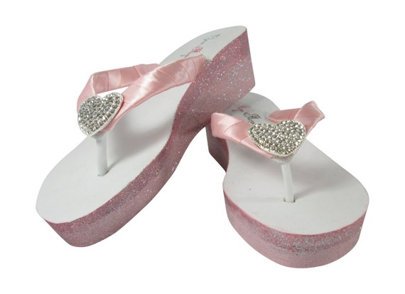 Wedding Pink Wedge Glitter Heels Ivory Pink Flip Ombre with Rhinestone Flops and Bridesmaids for Shoe or Petal Heart White Light Bride qY8nT