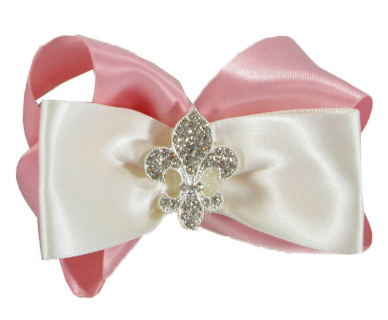 Lux Accessories Bridal Bride White Satin Large Bow Clip Wedding Hair Accessory