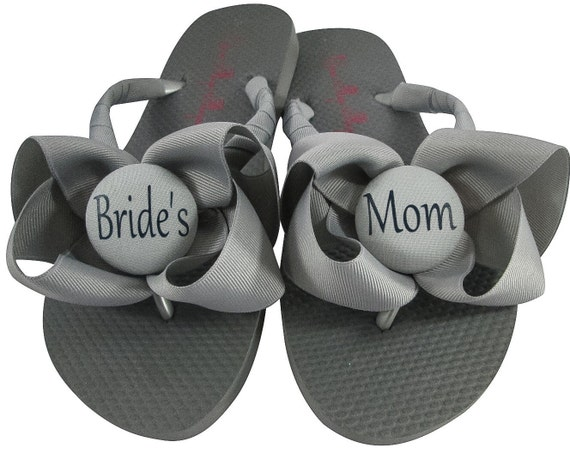 Mom Ribbon sandals Bride's Mother Flip shoes of Navy Bride the Bow amp; Wedding Groom's Gray Sandals Flops Flip wedges Flops Mom U4UPwXx7q