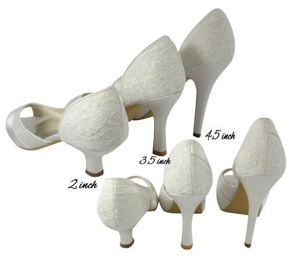 last and Wedding embellishment Heels satin with Bridal and rhinestone with Mrs Ivory name Toe Peep lace Champagne Pumps bows 1wdpqCHvx