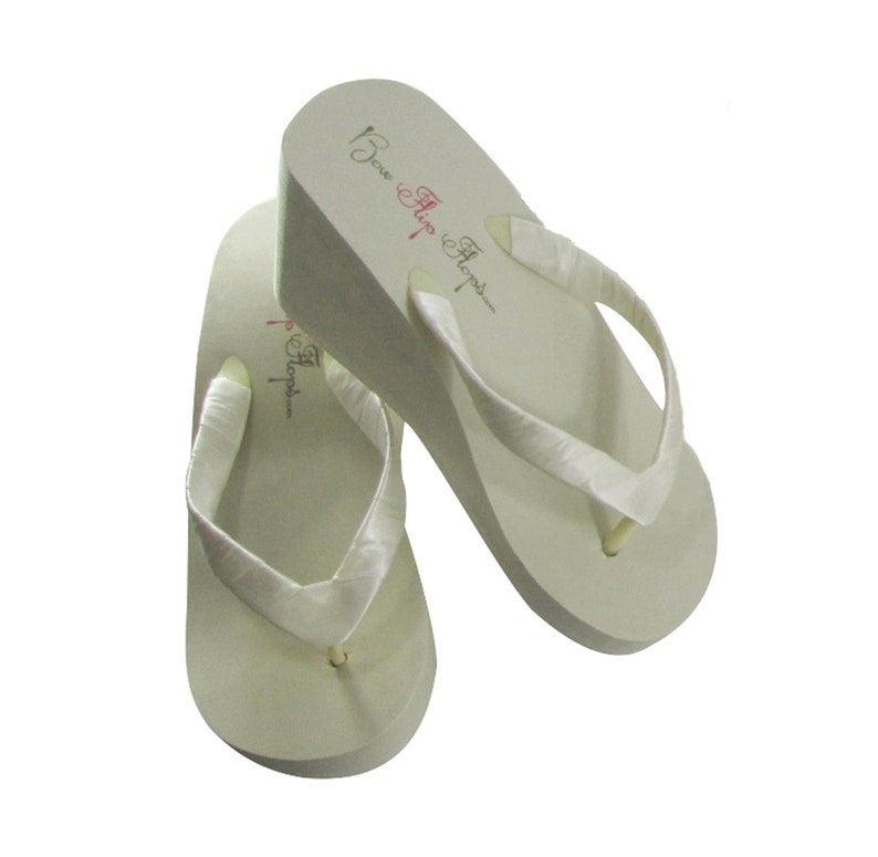 7d42e1fb2 Bridal Flip Flops   High Ivory Wedge Simple Satin Wrapped