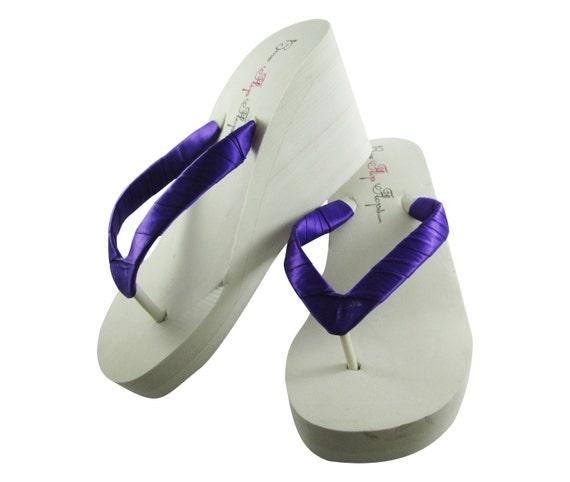 c2fec07ba ... Bridal Shoes Satin Bride wrapped Flip Flops Wedding straps Flops White  Wedge Sandals Mint Plain Ivory
