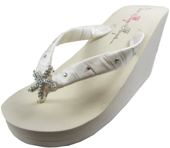 f4f1a515a385fe ... swarovski platform heel bridesmaids ivory bride wedges Wedge flip  rhinestones flip flops for crystal white bridal ...