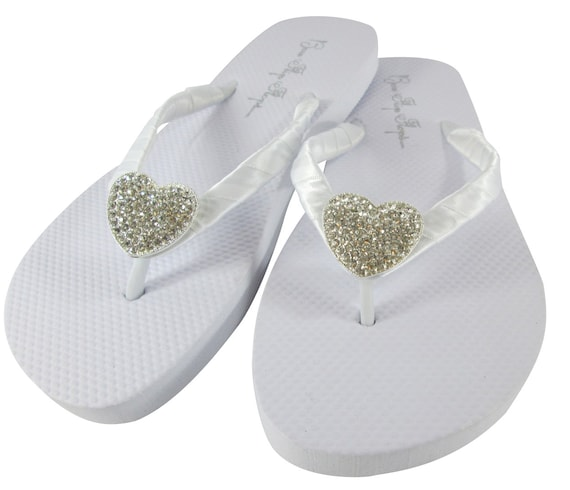 Wedge Bride wedding white embellishment or flat flops platform flip Ivory pearl bridal beach wedge qAxI6wpg