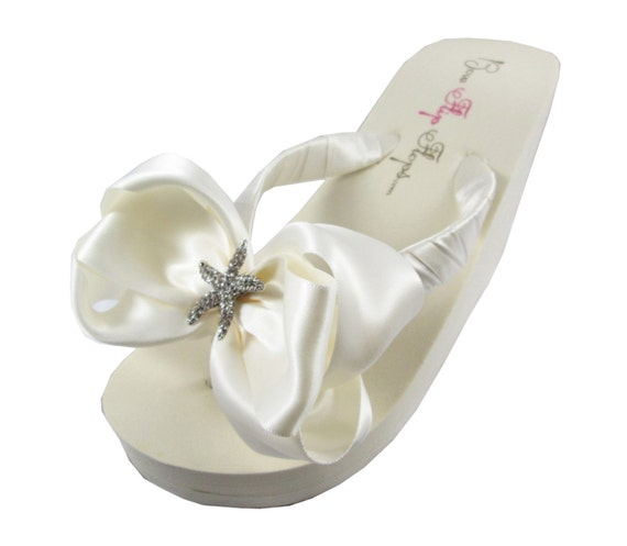 the own Ivory colors Starfish for your Flops bride bow party the wedding for Bow bridesmaid Flip Rhinestone bridal design or TYTrH