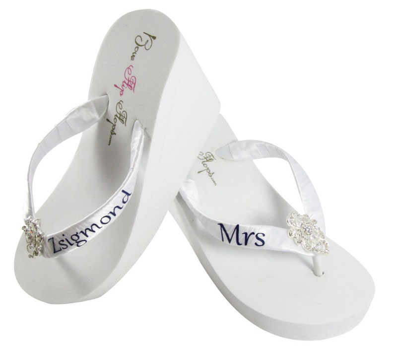 6eea0f274c737c Bridal flip flops Personalized Wedding lace flip flops