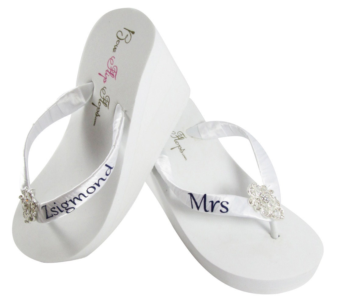6a61b85aa0ec8 Bridal flip flops Personalized Wedding lace flip flops