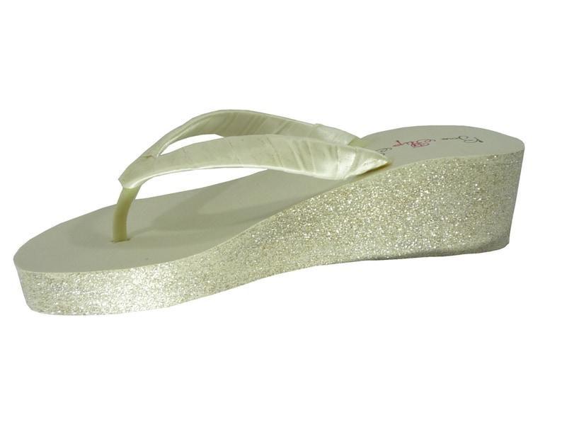 36ce22df03564d Wedding flip flops Champagne Gold   Ivory Glitter Wedge Flip