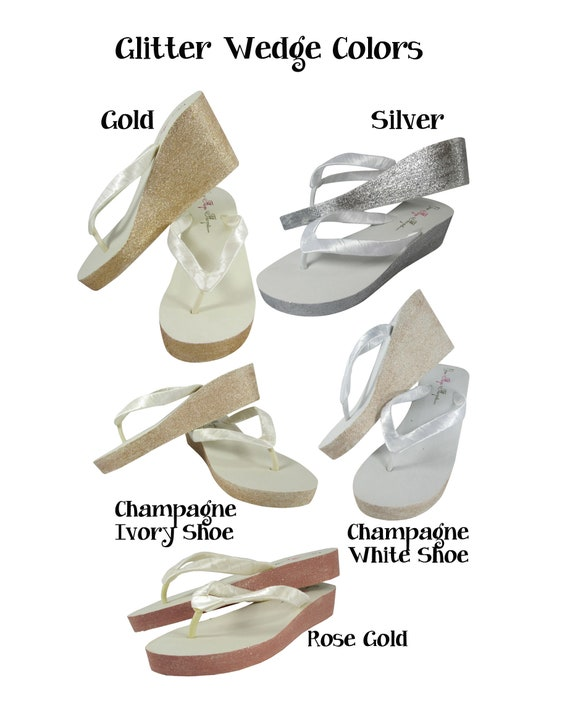 in Wedged or in I Bridal champagne ivory heel white DO Heel colors Flip silver gold Custom on with Glittery the Flops dZq8d