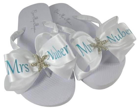 last embellishment white Flops ivory with Flip bling Fucshia Mrs Wedding bows in Flip name Flops Starfish flat Bridal Bride pink qUSvUw6