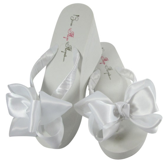 Wedding bow Wedge Bridal satin Bride knot Ivory wedding White bridesmaids Flip Double Plain Platform Bridal Heel sandal Flops Flops Flip xdXAdIr