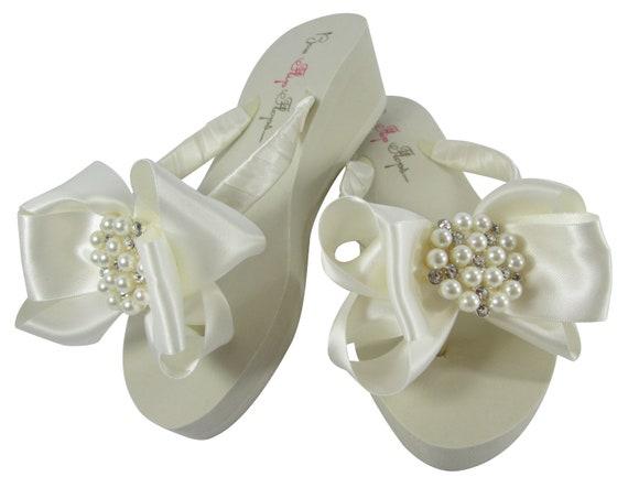 Ivory Wedge or Bling Jewel Flops bridesmaids Flip Wedding Flops with Flat the Bow platform Rhinestone Bride Heel Bridal White for Flip 1rvqX1