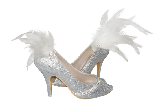 Rhinestones 3 Gold 5 in with inch Heels Swarovski Bride pump open Bling Wedding the for Glitter Feather tow or and Silver Champagne xYTpfnw8q