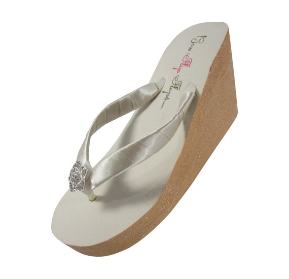 Rhinestone Wedges Wedding with High White Custom Ivory Paint Low or Luxe Glittery Flops Magenta Flip Hn0B5Wq7P