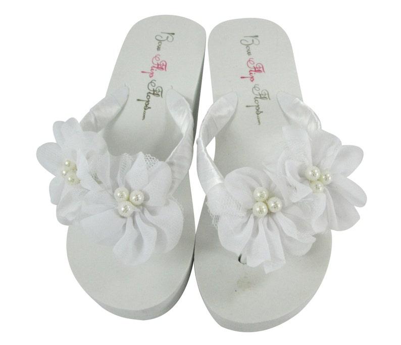 c6b11b4eb48f3 White Chiffon Pearl Flip Flops Wedding Bridal Bridesmaid