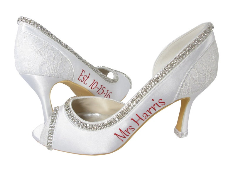 6d2bf561c2530 Personalized date Wedding Heels, Ivory & Red Bridal High Heels, white Shoes  Mrs New Last name Peep Rhinestone Pumps Bride Gift Stiletto