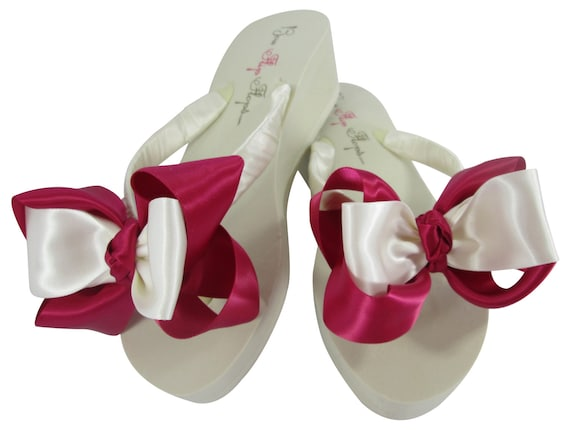 Bride Satin Flip height Flops Fabulous white 2 Wedding Bow 5